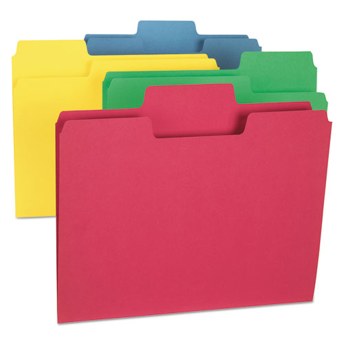 SuperTab Colored File Folders, 1/3-Cut Tabs, Letter Size, Assorted, 24/Pack