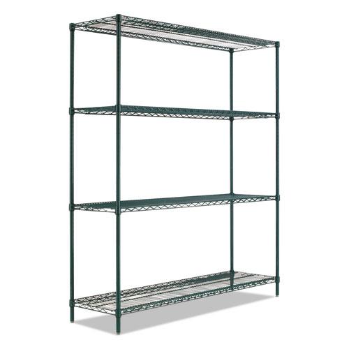 BA Plus Wire Shelving Kit, 4 Shelves, 72 x 24 x 72, Black Anthracite Plus