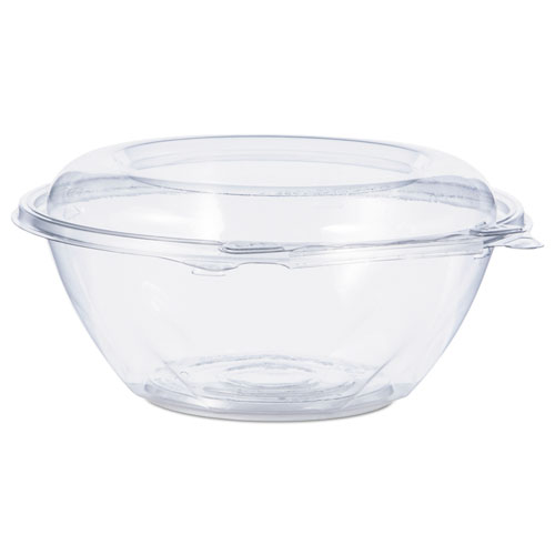 """Tamper-Resistant, Tamper-Evident Bowls with Dome Lid, 24 oz, 7"""" Diameter x 3.1""""h, Clear, 150/Carton"""