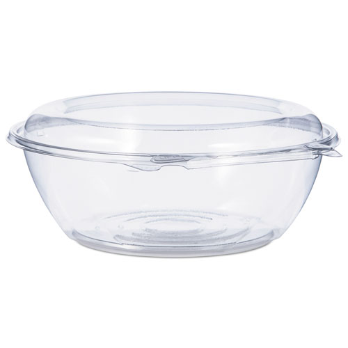 Tamper-Resistant, Tamper-Evident Bowls with Dome Lid, 48 oz, Clear, 100/Carton