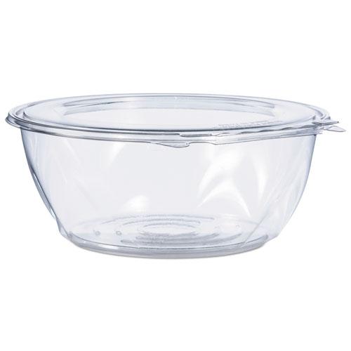 Tamper-Resistant, Tamper-Evident Bowls with Flat Lid, 64 oz, Clear, 100/Carton