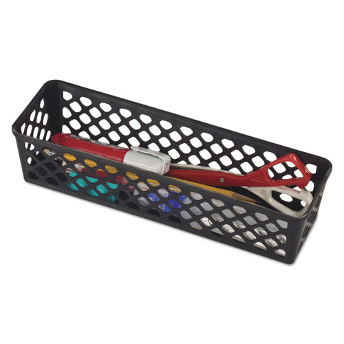 Recycled Supply Basket, 10.125 x 3.0625 x 2.375, Black, 3/Pack