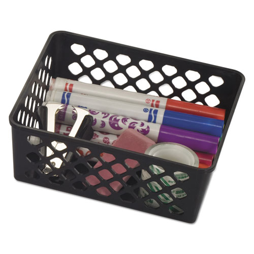 Recycled Supply Basket, 6.125 x 5 x 2.375, Black, 3/Pack