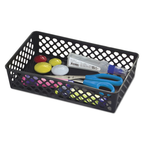 Recycled Supply Basket, 10.0625 x 6.125 x 2.375, Black, 2/Pack