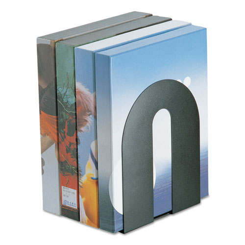 Heavy Duty Bookends, Nonskid, 8 x 8 x 10, Steel, Black