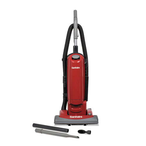 FORCE QuietClean Upright Bagged Vacuum, Sealed HEPA, 23 lb, 4.5 qt, Red