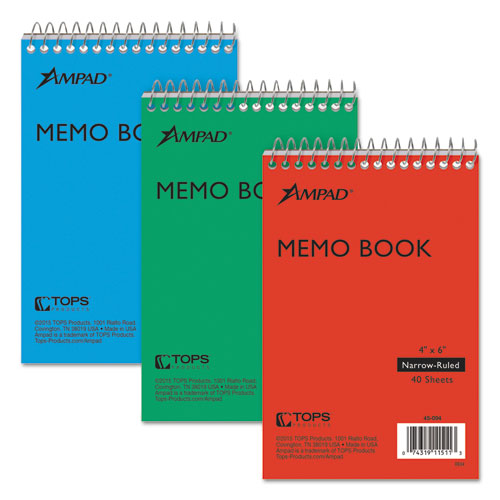 Memo Books, Narrow Rule, 6 x 4, White, 40 Sheets, 3/Pack | by Plexsupply