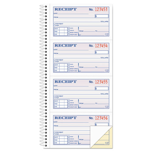 Two-Part Rent Receipt Book, 2 3/4 x 4 3/4, Carbonless, 200 Forms | by Plexsupply