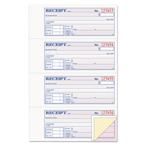 Receipt Book, 7 5/8 x 11, Three-Part Carbonless, 100 Forms | by Plexsupply