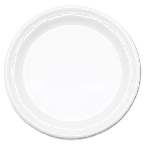 "Famous Service Impact Plastic Dinnerware, Plate, 10 1/4"" dia, White, 500/Carton | by Plexsupply"