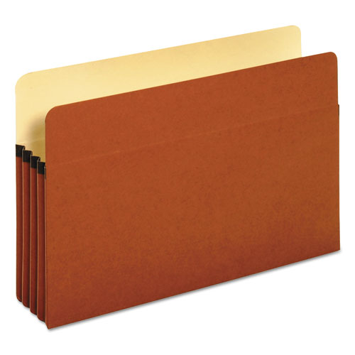 "Standard Expanding File Pockets, 3.5"" Expansion, Legal Size, Red Fiber, 25/Box 