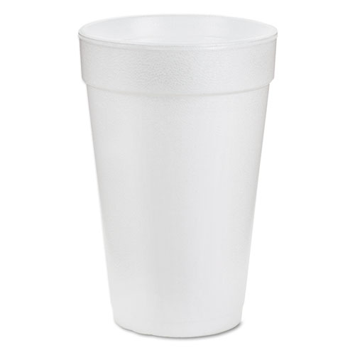Dart® Foam Drink Cups, 16oz, White, 25/Bag, 40 Bags/Carton