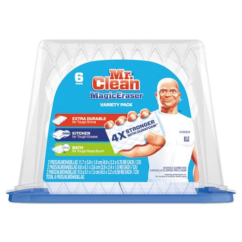 Magic Eraser Foam Pad, 2 2/5 x 4 3/5, Variety Pack, White/Blue, 6/Pack