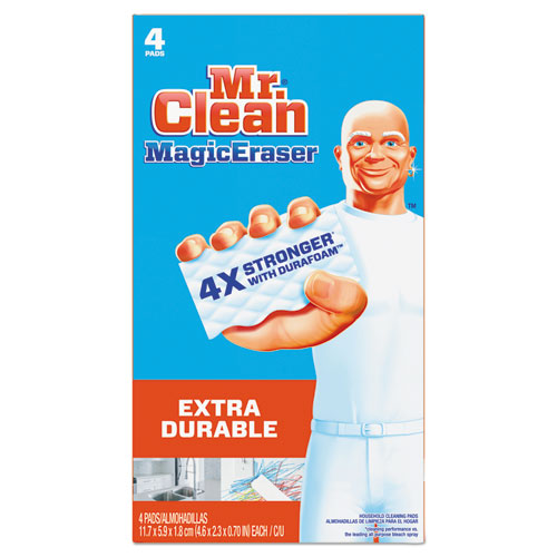 Magic Eraser Extra Durable, 4 3/5 x 2 2/5, 4/Box