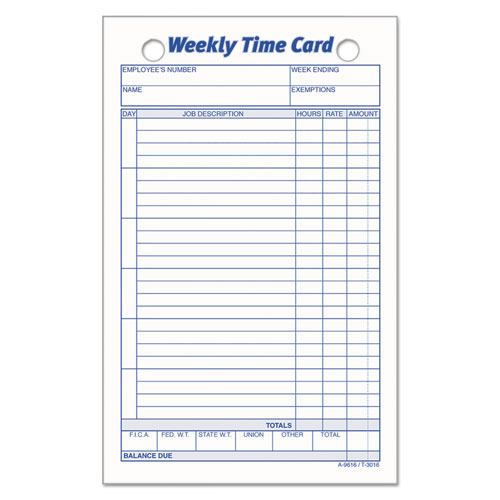 Employee Time Card, Weekly, 4 1/4 x 6 3/4, 100/Pack | by Plexsupply