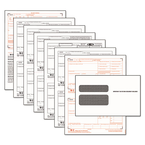 W-2 Tax Form/Envelope Kits, 8 1/2 x 5 1/2, 6-Part, Inkjet/Laser, 24 W-2s & 1 W-3 | by Plexsupply