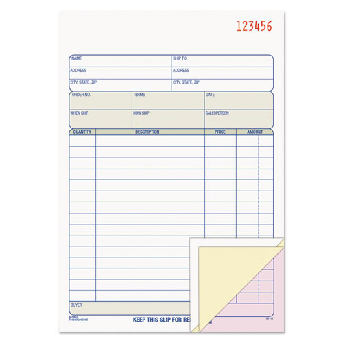 Sales Order Book, 5-9/16 x 7-15/16, Three-Part Carbonless, 50 Sets/Book | by Plexsupply
