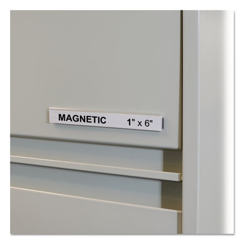 "HOL-DEX Magnetic Shelf/Bin Label Holders, Side Load, 1"" x 6"", Clear, 10/Box 