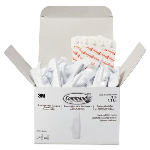General Purpose Hooks, Plastic, White, 3 lb Cap, 37 Hooks and 48 Strips/Pack