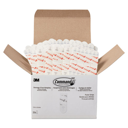 Poster Strips, Removable, Holds Up to 1 lb, 5/8 x 1 3/4, White, 256/Pack