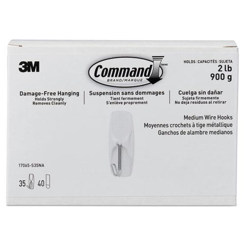 General Purpose Hooks, Metal, White, 2 lb Cap, 35 Hooks and 40 Strips/Pack
