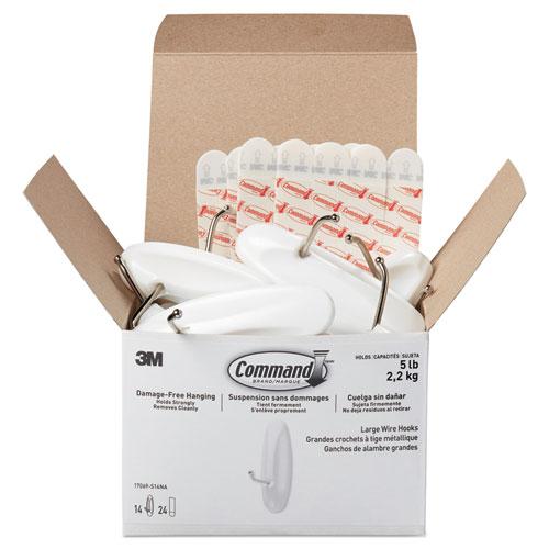 General Purpose Hooks, Metal, White, 5 lb Cap, 14 Hooks and 24 Strips/Pack