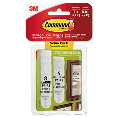Picture Hanging Strips, Value Pack, Removable, White, (8) Large 0.63 x 3.63 Pairs, (4) Medium 0.5 x 2.75 Pairs