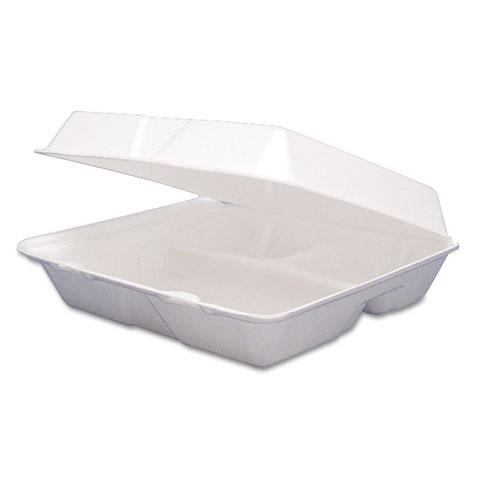 Foam Container, Hinged Lid, 3-Comp, 8 3/8 x 7 7/8 x 3 1/4, 200/Carton | by Plexsupply