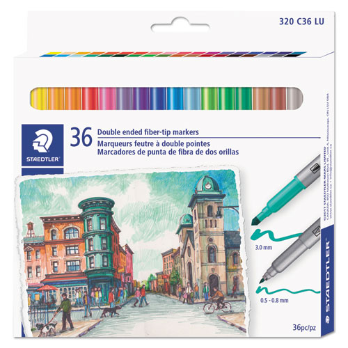 Double Ended Markers, Assorted Bullet Tips, Assorted Colors, 36/Pack