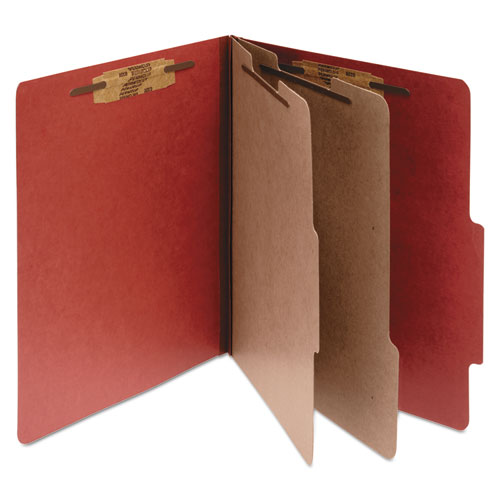 Pressboard Classification Folders, 2 Dividers, Legal Size, Earth Red, 10/Box | by Plexsupply