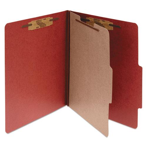Pressboard Classification Folders, 1 Divider, Letter Size, Earth Red, 10/Box