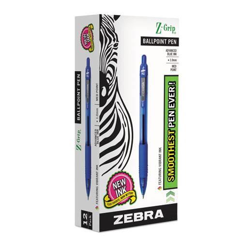 Z-Grip Retractable Ballpoint Pen, Medium 1 mm, Blue Ink, Clear Barrel, Dozen