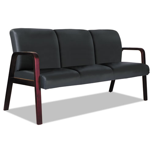 Alera Reception Lounge WL 3-Seat Sofa, 65.75 x 26.13 x 33, Black/Mahogany