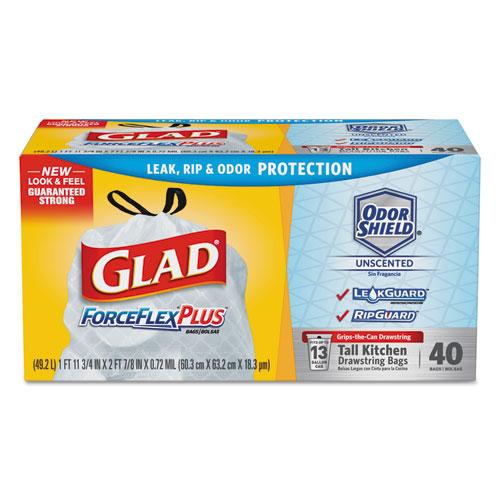 "Glad® Tall Kitchen Drawstring Trash Bags, 13 gal, 0.95 mil, 24"" x 27.38"", Gray, 100/Box"