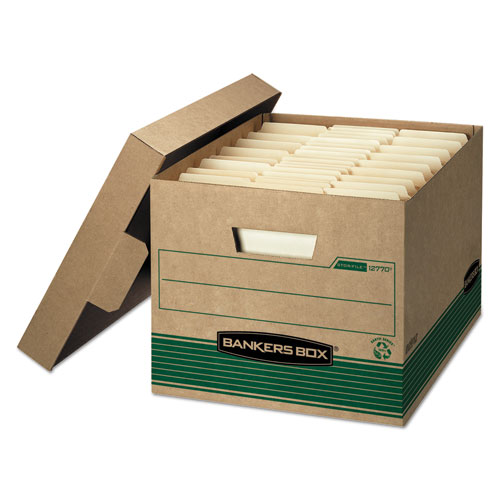 STOR/FILE Medium-Duty 100 Recycled Storage Boxes, Letter/Legal Files, 12 x 16.25 x 10.5, Kraft, 20/Carton