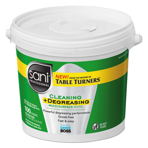 Multi-Surface Cleaning and Degreasing Wipes, 11 1/2 x 10, 100/Pail, 2 Pails/CT