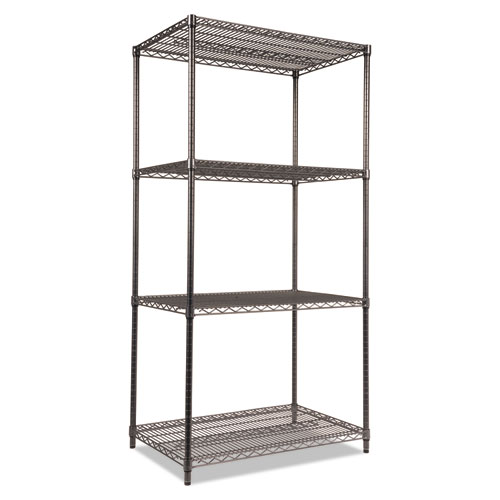Wire Shelving Starter Kit, Four-Shelf, 36w x 24d x 72h, Black Anthracite | by Plexsupply