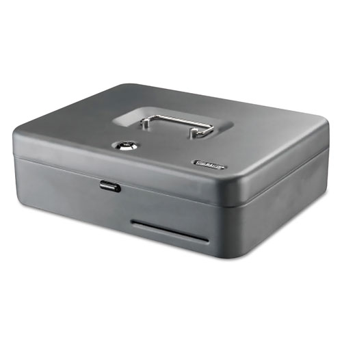 Tiered Cash Box with Bill Weights, 2 Keys, 9.84 x 9.84 x 11.81, Steel, Gray