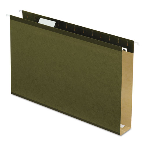 Extra Capacity Reinforced Hanging File Folders with Box Bottom, Legal Size, 1/5-Cut Tab, Standard Green, 25/Box