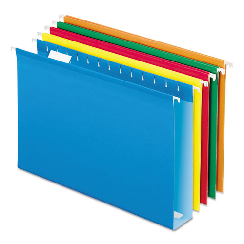 Extra Capacity Reinforced Hanging File Folders with Box Bottom, Legal Size, 1/5-Cut Tab, Assorted, 25/Box