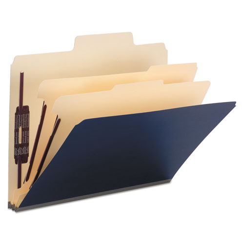 SuperTab Colored Classification Folders, SafeSHIELD Coated Fastener Technology, 2 Dividers, Letter Size, Dark Blue, 10/Box