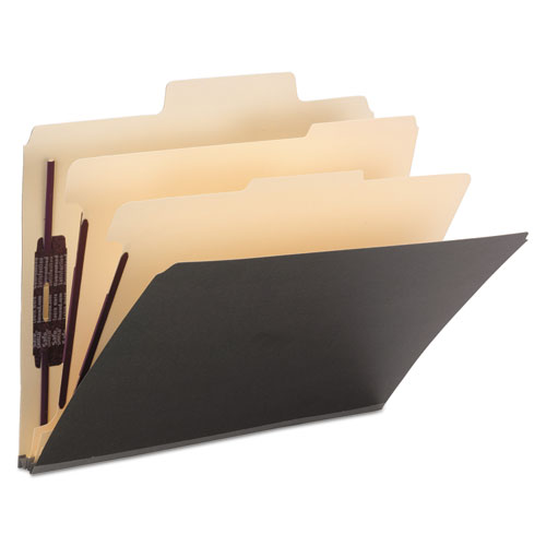 SuperTab Colored Classification Folders, SafeSHIELD Coated Fastener Technology, 2 Dividers, Letter Size, Dark Gray, 10/Box