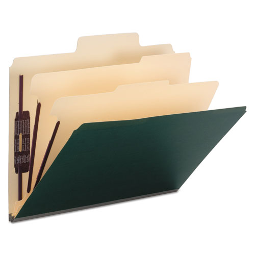 SuperTab Colored Classification Folders, SafeSHIELD Coated Fastener Technology, 2 Dividers, Letter Size, Dark Green, 10/Box