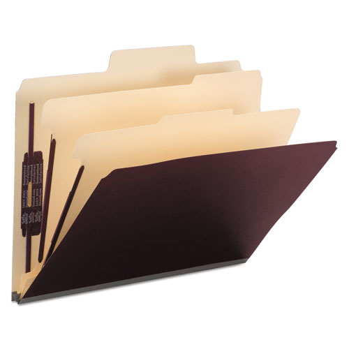 SuperTab Colored Classification Folders, SafeSHIELD Coated Fastener Technology, 2 Dividers, Letter Size, Maroon, 10/Box