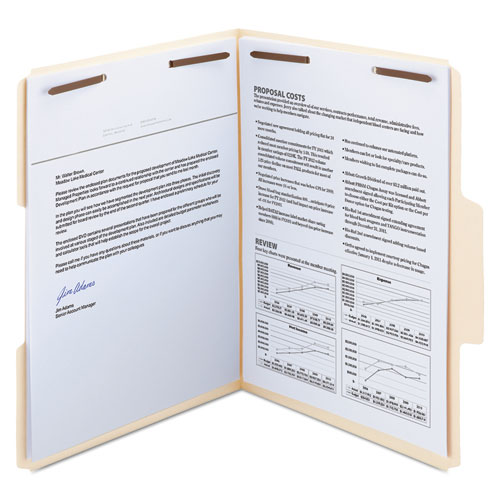 SuperTab Reinforced Guide Height 2-Fastener Folders, 1/3-Cut Tabs, Letter Size, 14 pt. Manila, 50/Box