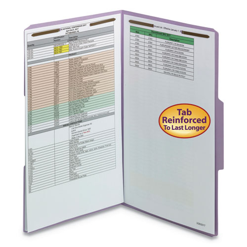 Top Tab Colored 2-Fastener Folders, 1/3-Cut Tabs, Legal Size, Lavender, 50/Box