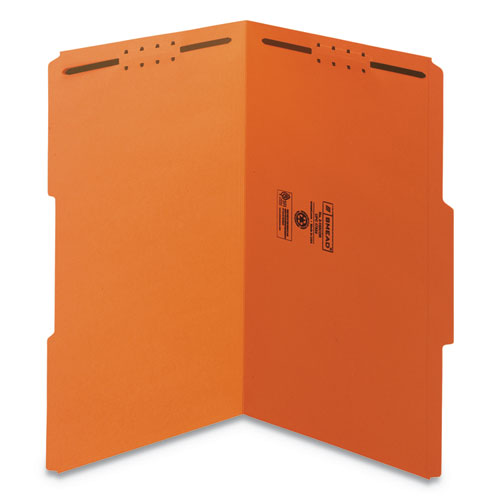 Top Tab Colored 2-Fastener Folders, 1/3-Cut Tabs, Legal Size, Orange, 50/Box