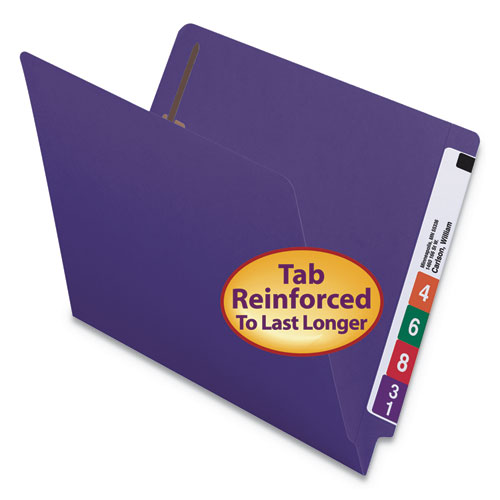 Heavyweight Colored End Tab Folders with Two Fasteners, Straight Tab, Letter Size, Purple, 50/Box