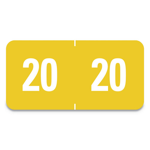 Yearly End Tab File Folder Labels, 20, 0.5 x 1, Yellow, 25/Sheet, 10 Sheets/Pack
