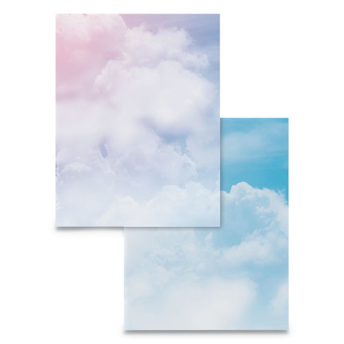 Pre-Printed Paper, 28 lb, 8.5 x 11, Clouds, 100/Pack